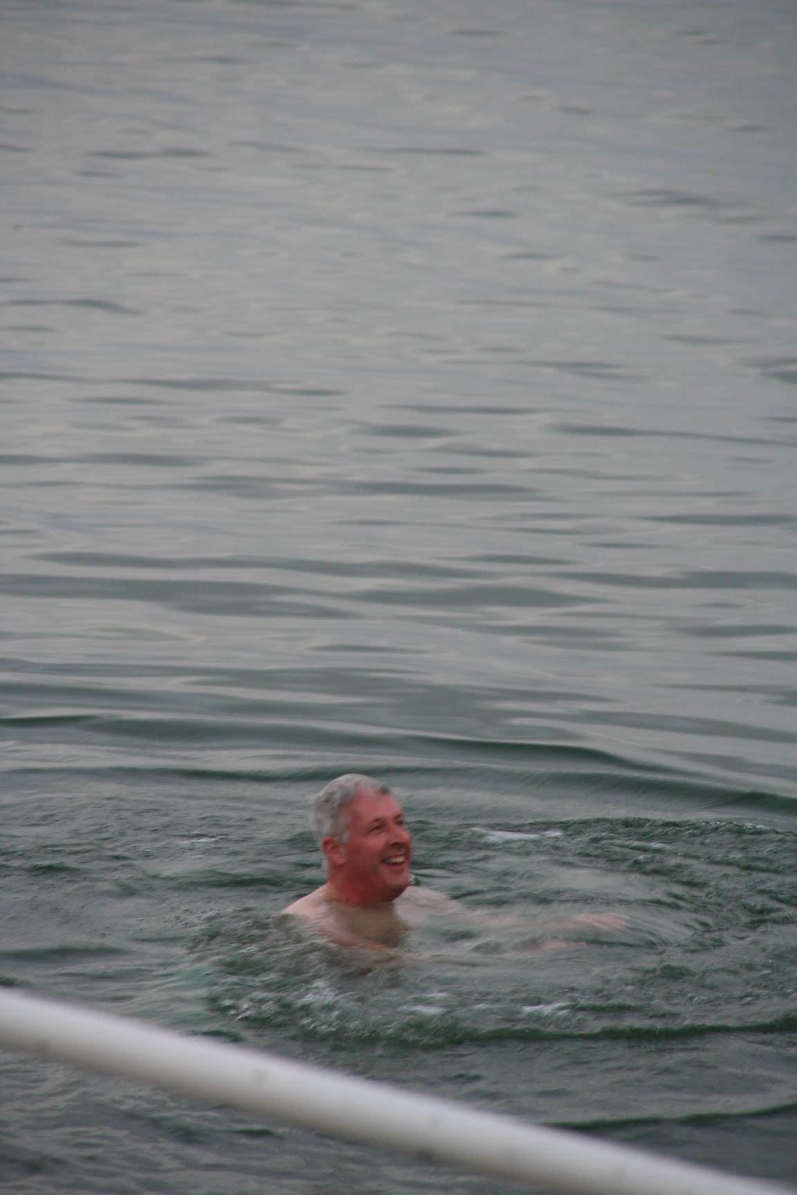 The bishop swimming in the Sea of Galilee